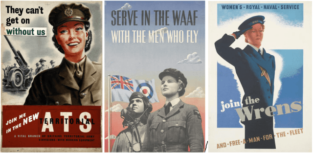 Three recruiting posters for the ATS, the WAAF, and the WRNs
