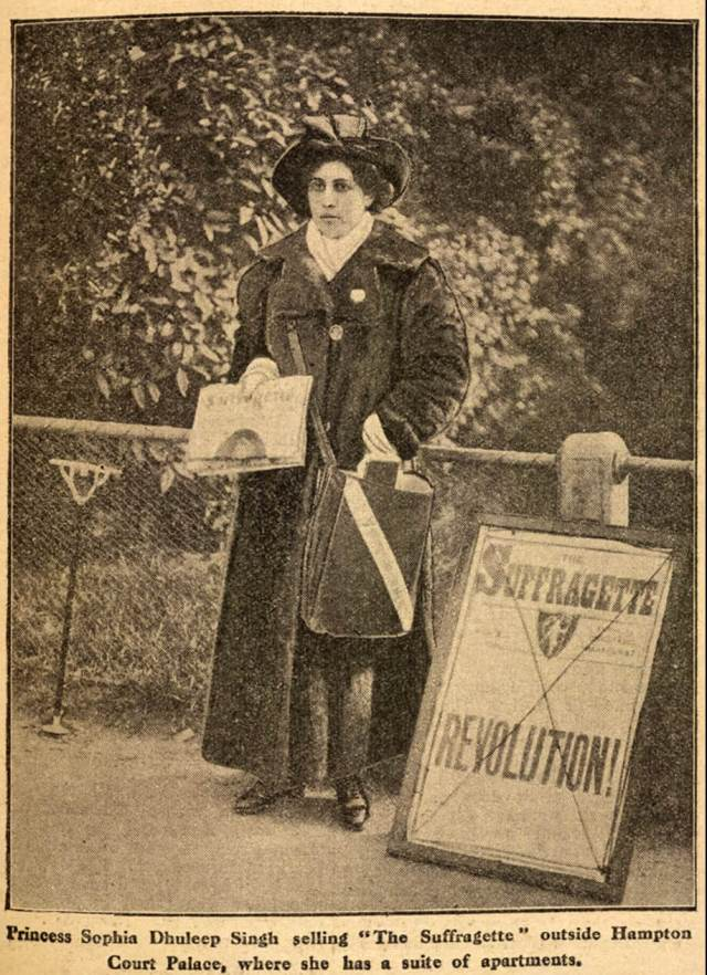 Princess Sophia Duleep Singh selling subscriptions for the Suffragette newspaper outside Hampton Court in London, April 1913