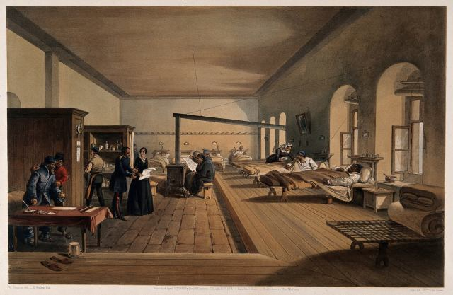Coloured lithograph of a ward at Scutari