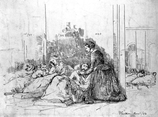 Drawing of Florence Nightingale attending to wounded soldiers at Scutari