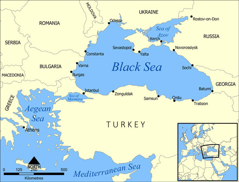 Modern map showing the Crimean peninsula (centre top beneath Ukraine), marked with its largest city, Sevastopol. Istanbul (formerly Constantinople and the location of Scutari), is shown 340 miles south-west across the Black Sea in Turkey