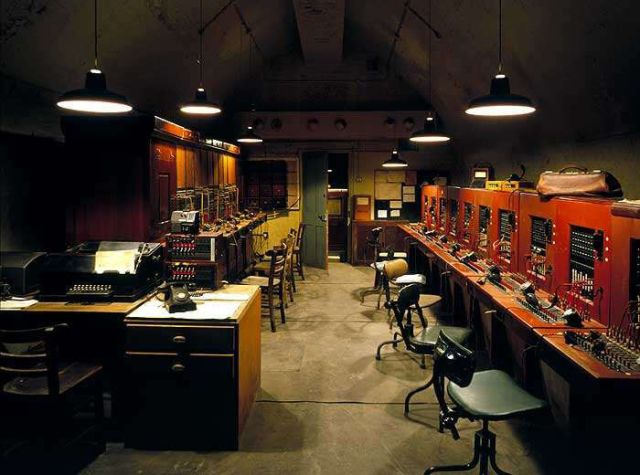 Reconstructed underground telephone and telex exchange.