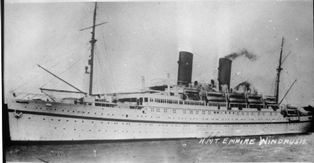 HMT Empire Windrush. Image courtesy Wikimedia Commons