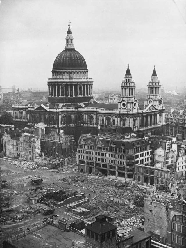 The area around St Paul's is damaged by bombs