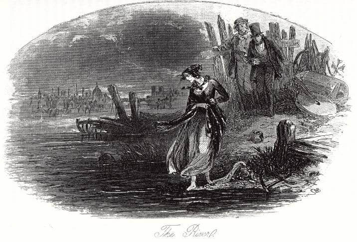 Etching - Martha Endell, a character in David Copperfield, about to drown herself in the Thames.