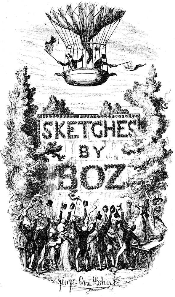 Woodcut by George Cruikshank who illustrated Sketches by Boz