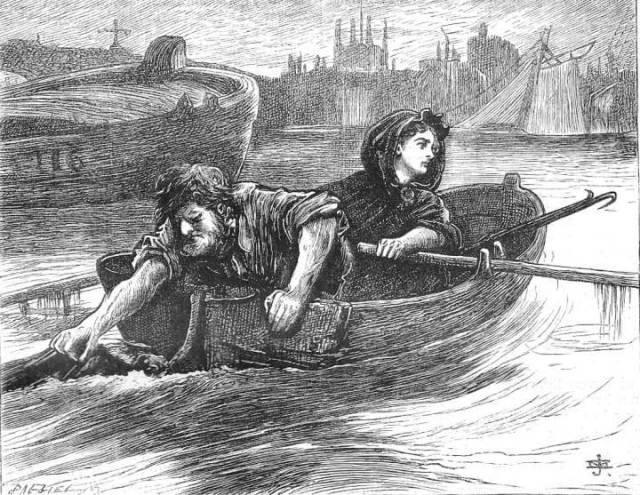Gaffer Maxam and his daughter Lizzie look for drowned corpses floating between London Bridge and Southwark Bridge to steal money from their pockets