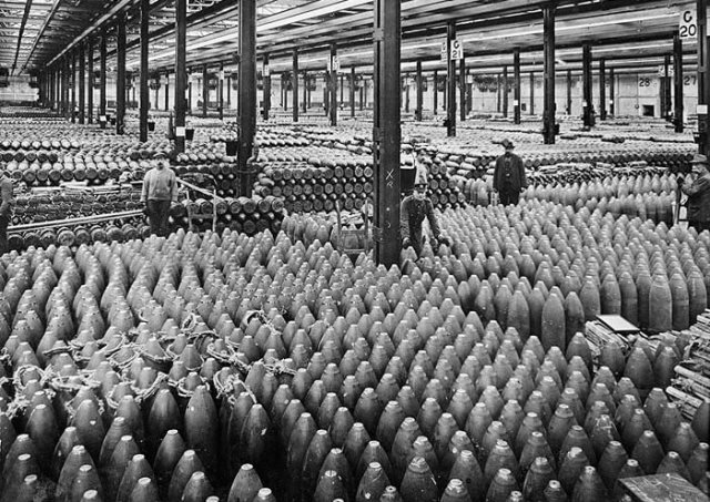 Interior high explosive shell filling shed.