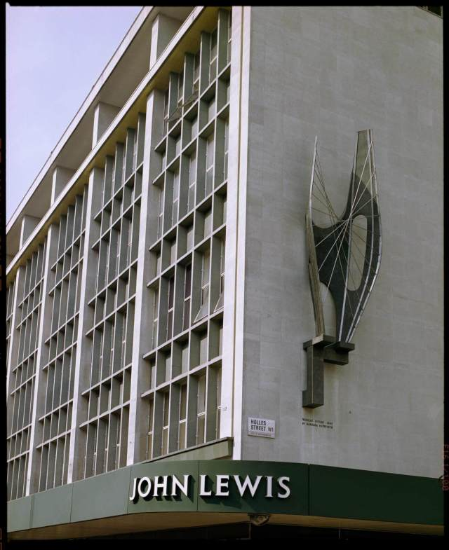 'Winged Figure Sculpture', 1963, by Barbara Hepworth, on the south east corner of John Lewis, 278-306 Oxford Street