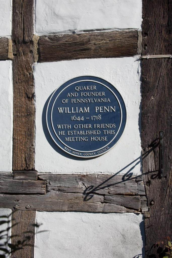 A plaque commemorating William Penn at the Blue Idol Quaker Meeting House, Coolham © Historic England Archive DP160412