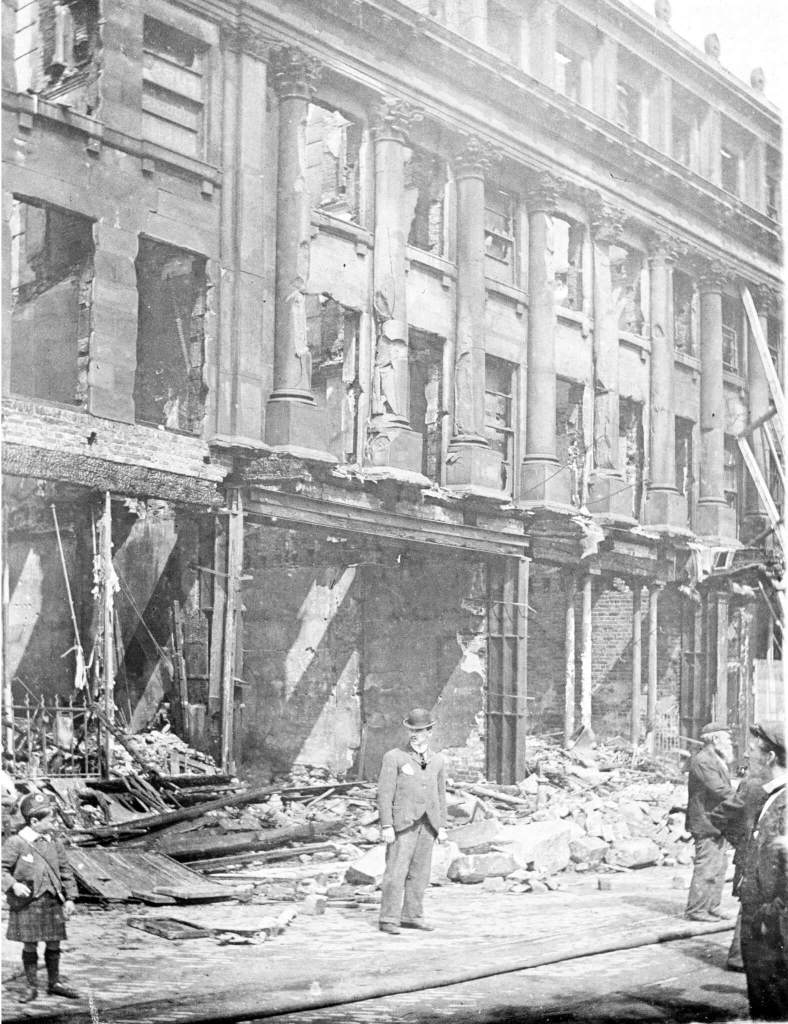 The eastern part of Hutchinson's Buildings on High Street West, showing how its stonework had cracked in the ferocious heat. Its interior was burnt out.© Sunderland Antiquarian Society
