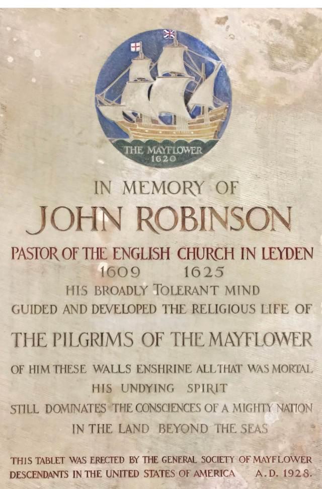 Pastor John Robinson's memorial plaque in the Pieterskerk.