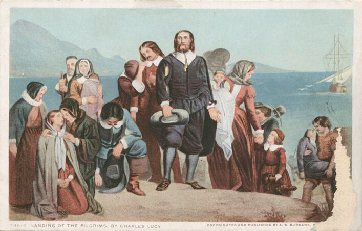 A postcard (with some damage) of 'The Landing of the Pilgrims' taken from a painting by Charles Lucy
