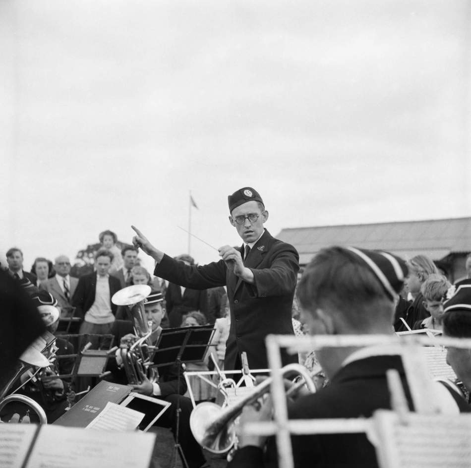 Conducting a brass band at Laing Sports Club