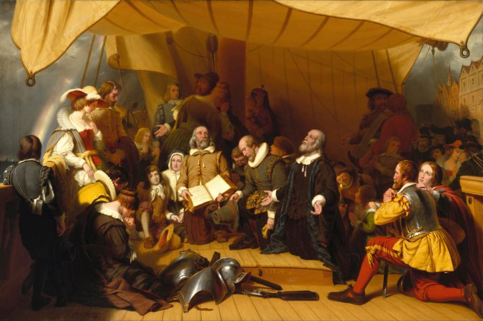 'Embarkation of the Pilgrims' - painted in oils by Robert Walter Weir