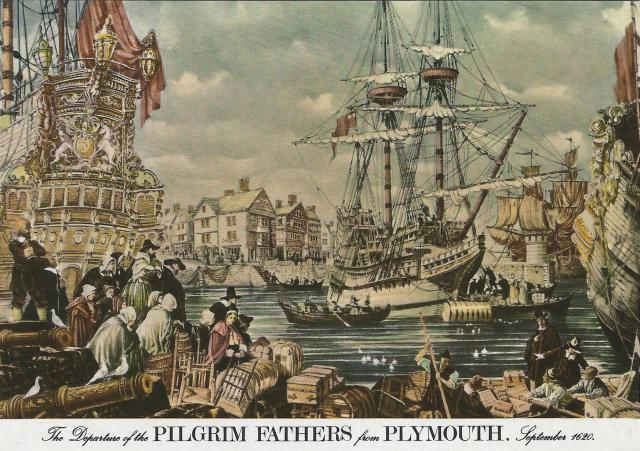 Vintage postcard: 'The departure of the Pilgrim Fathers from Plymouth, September 1620'