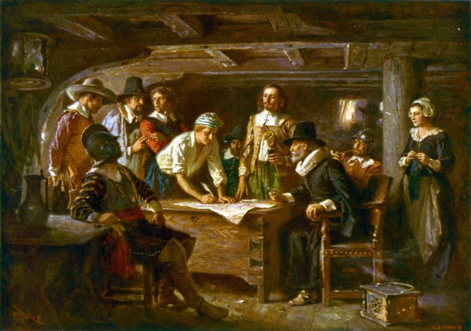'The Mayflower Compact 1620' - painting