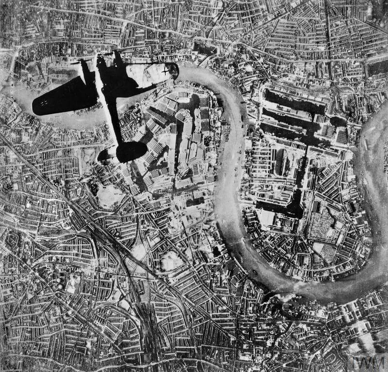 German Heinkel He 111 bomber flying over the Isle of Dogs in the East End of London