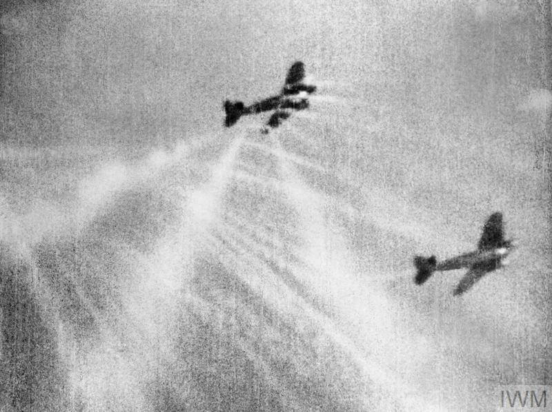 An image from camera gun film shows tracer ammunition from a Spitfire of No. 609 Squadron