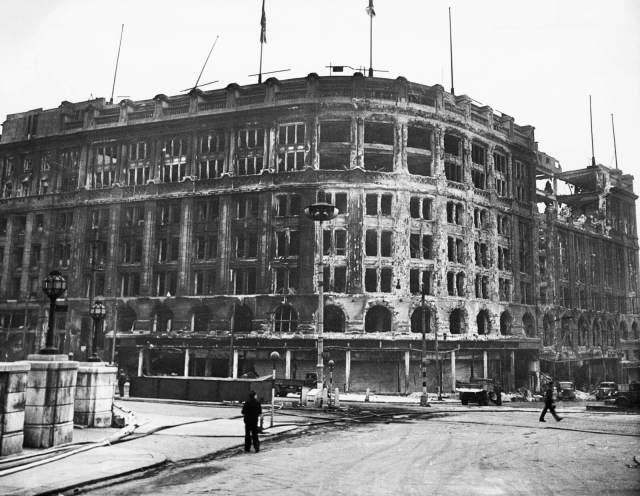 Bomb damage caused during the Liverpool Blitz of May 1941, Lewis's Department Store, Ranelagh Street, Liverpool, 1942 © Historic England Archive OP11304
