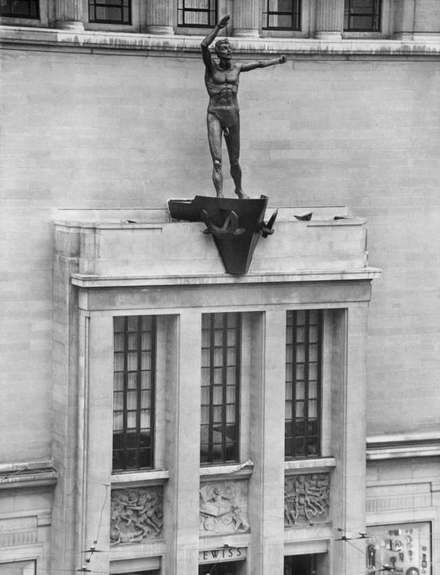 Jacob Epstein's sculpture 'Liverpool Resurgent' above the entrance of the rebuilt Lewis's Department Store, Ranelagh Street, Liverpool, 1958 © Historic England Archive OP11305