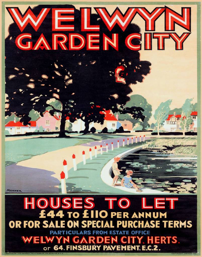 Replica of a poster aimed at attracting new residents to the city.