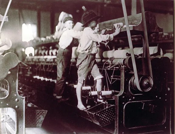 Children changing bobbins.