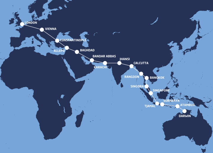 Amy Johnson's route from England to Australia