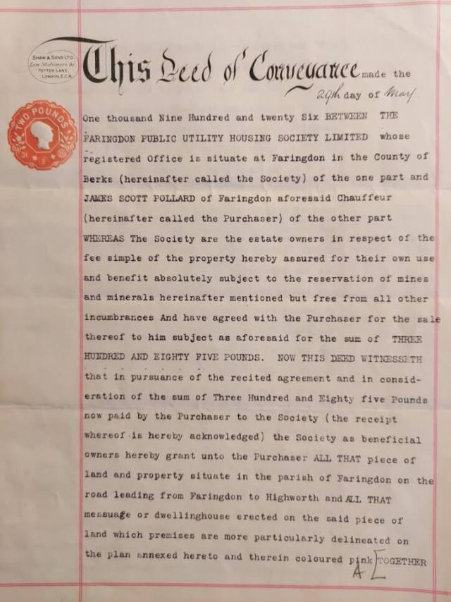 Deed of Conveyance, dated 29 May 1926.