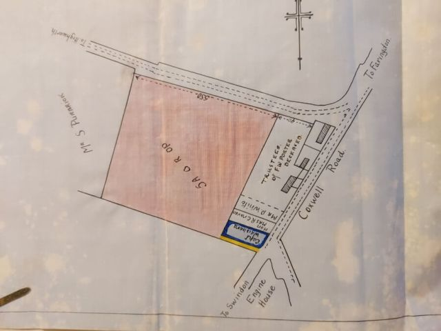 Plan of land sold to Susan Porter, Eaden Caddy, and Edward Chamberlain, July 1924.