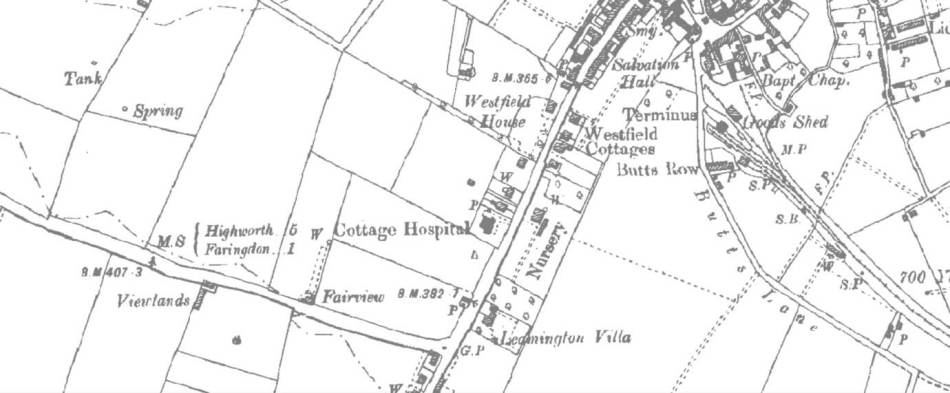 Ordnance Survey Map, 1900. Highworth Road leads off to the left of the image.