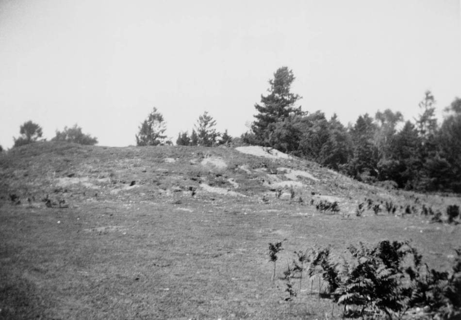 A black and white archive view of a burial mound.