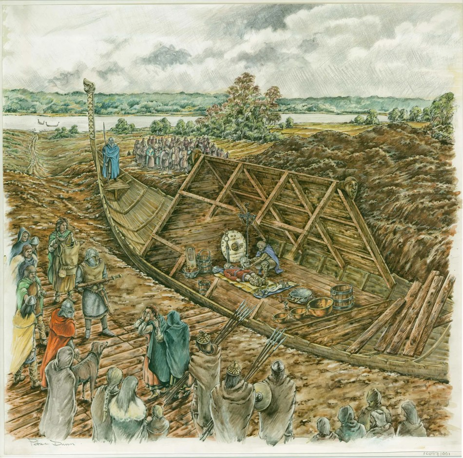 An artist's reconstruction showing  the funeral of an Anglo-Saxon king in a ship-burial.