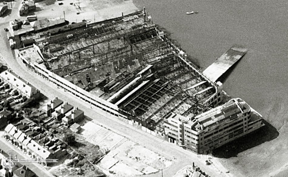 Aerial view of the destruction of the Supermarine Aviation Works