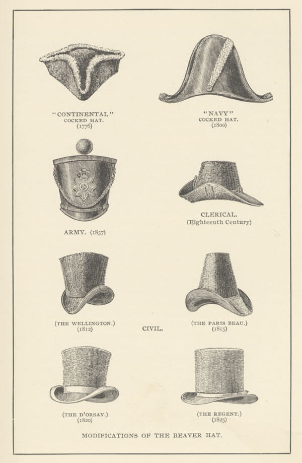 Eight different styles of beaver hats from the 18th and 19th centuries.