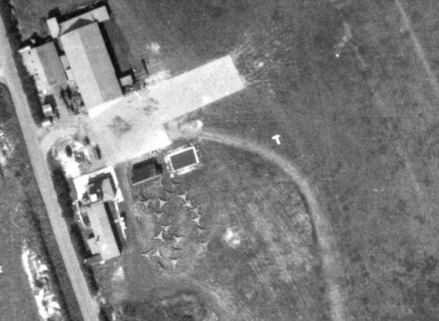 Aerial image of the former civilian aerodrome