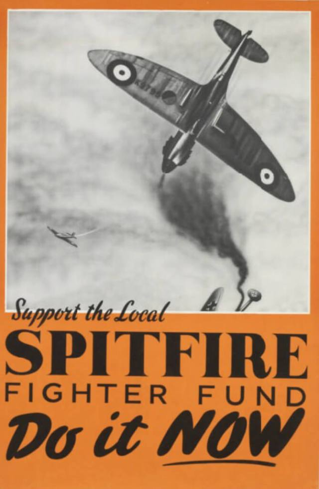 A poster encouraging the public to contribute financially to the production of Spitfires