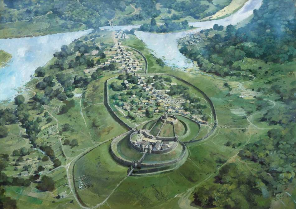 Aerial view reconstruction of a Norman castle