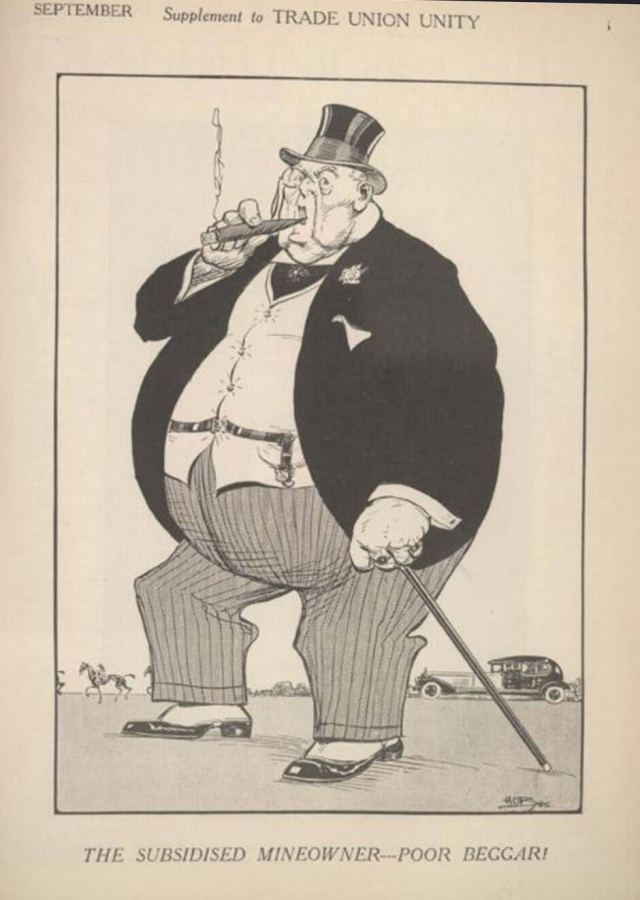 Cartoon of a 'mineowner', in top and tails