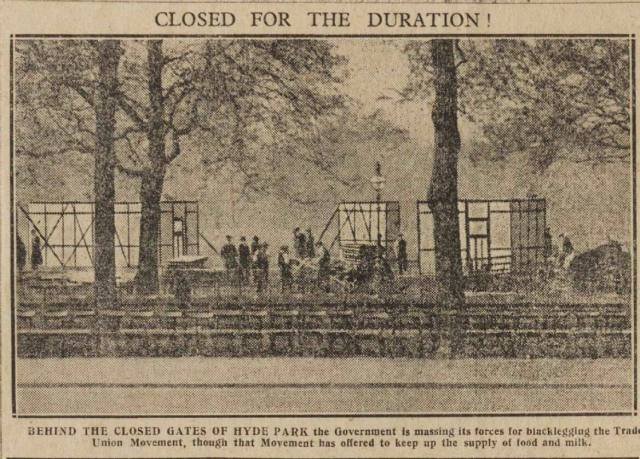 Cutting from Daily Herald showing people in Hyde Park