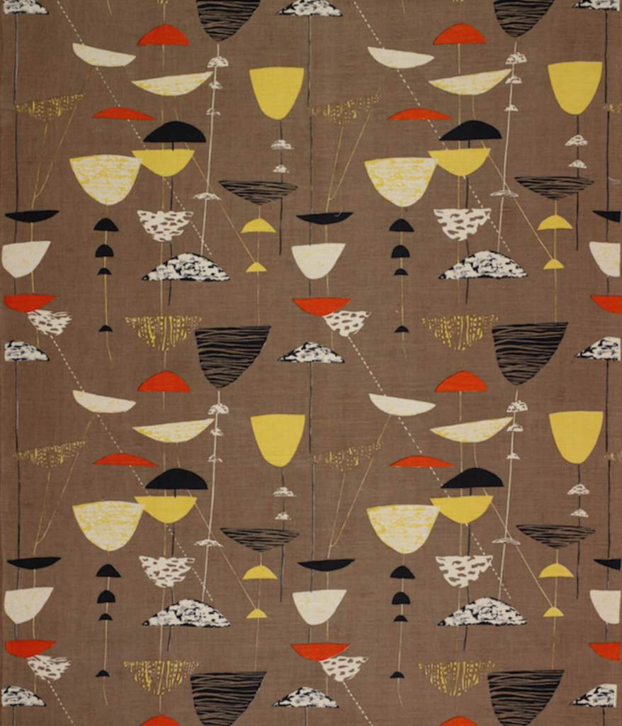 Screen printed furniture fabric, brown with yellow, red, black shapes