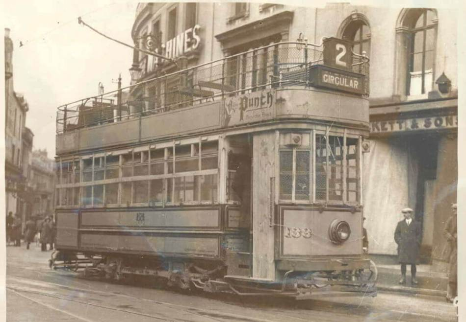 A tram with smashed windows