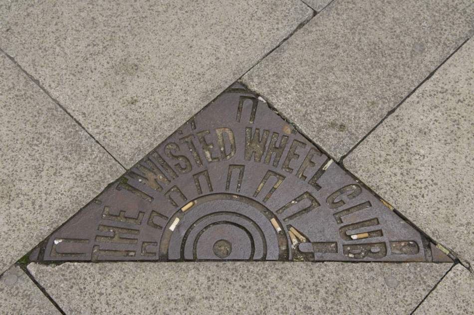 A plaque set into the pavement at Oldham Street in Manchester's Northern Quarter, commemorating The Twisted Wheel Club