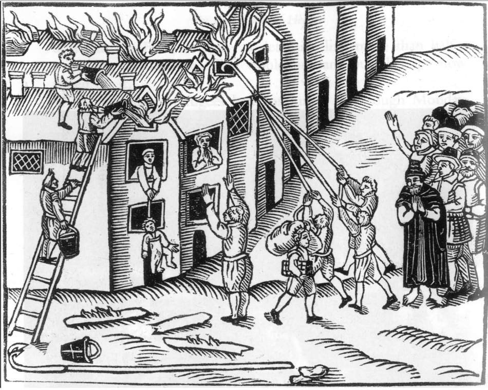 Drawing of a house on fire with people using fire hooks to pull down the roof with people watching