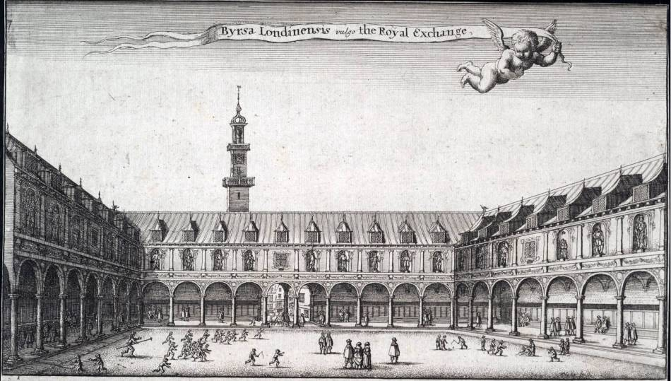 Drawing of the Royal Exchange, a square with collanades.