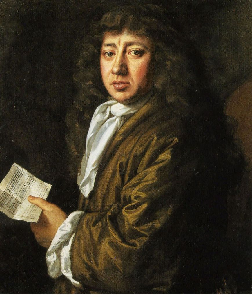 Oil painting of Samuel Pepys, a man with long brown hair wearing a brown coat and holding a sheet of music.