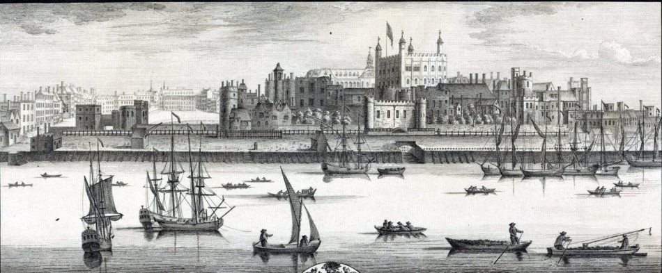 A drawing of the Tower of London from the south bank, with boats in the river infront.