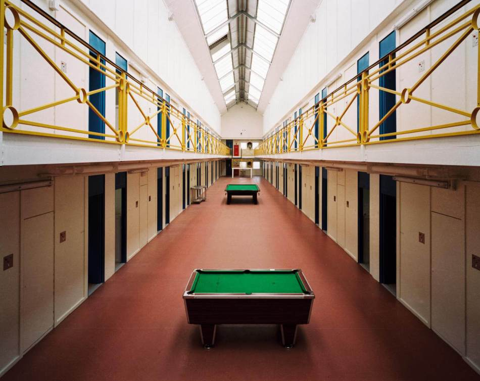 Wing interior of the prison with two pool tables