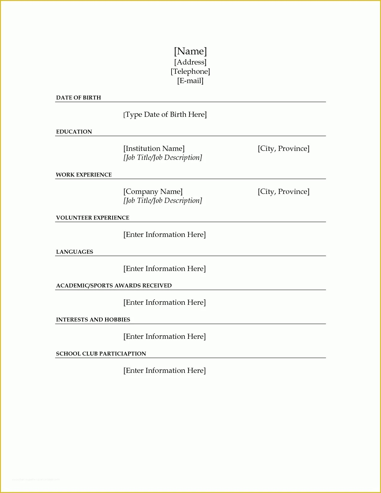 Free Blank Resume Templates For Microsoft Word Free Blank Resume Templates Of Resume Sample Microsoft Word