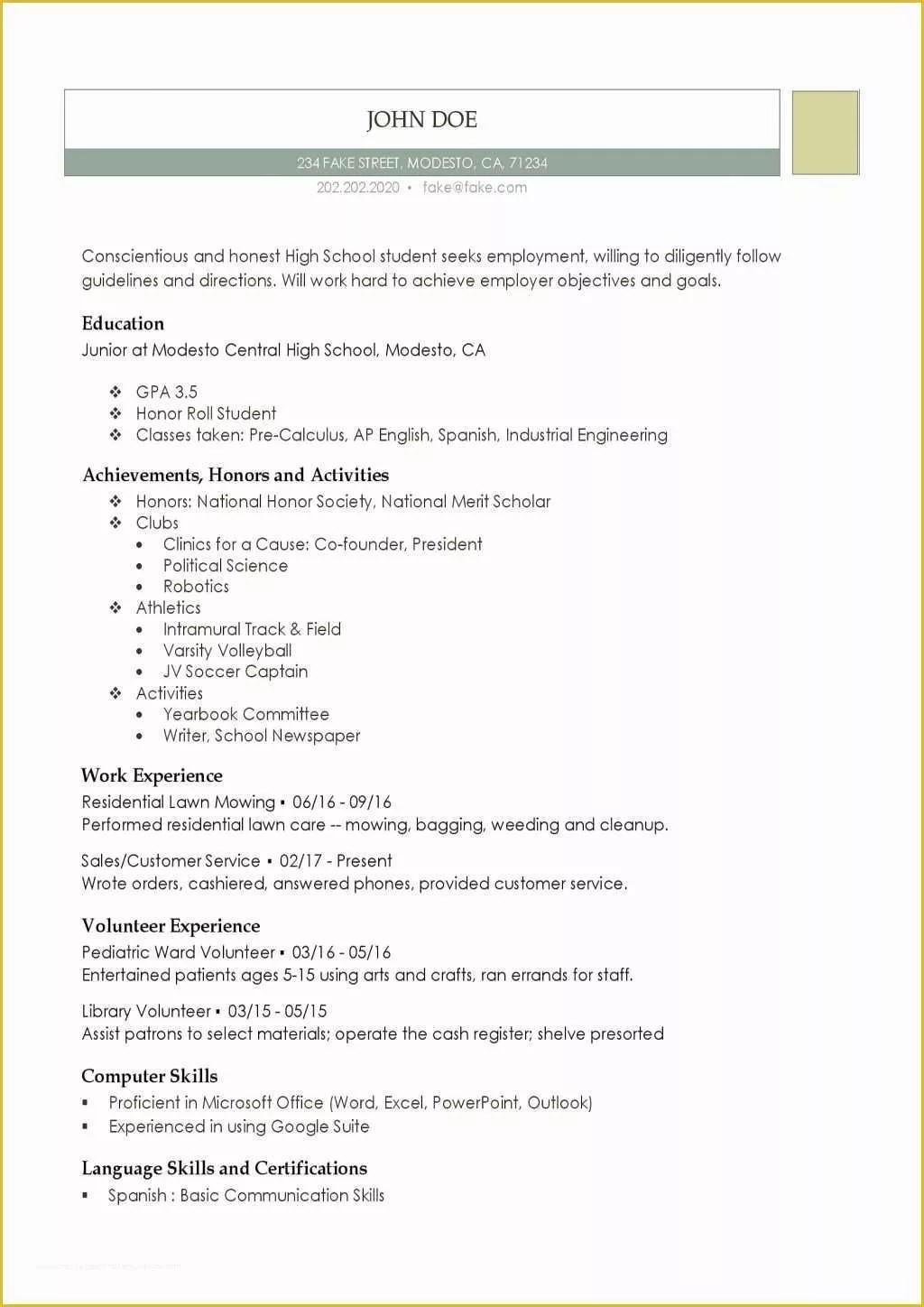 Free High School Resume Template Resume Templates Free For High School Students Of Free Printable